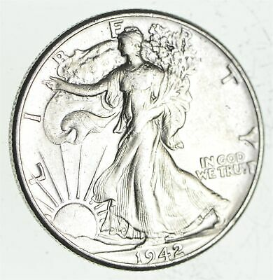 XF+ 1942 Walking Liberty 90% Silver US Half Dollar - NICE COIN *841