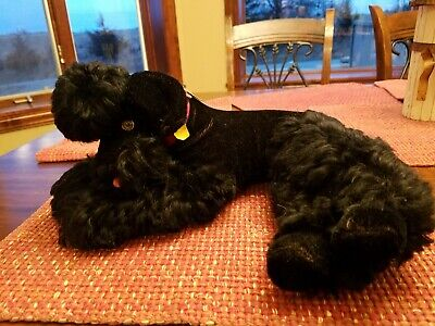 "VINTAGE 1950's STEIFF 16"" Laying ""SNOBBY"" BLACK MOHAIR POODLE, Tag & BUTTON  EAR"