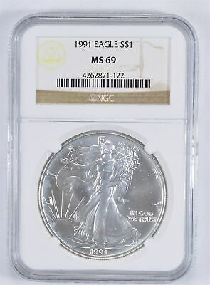 MS69 1991 American Silver Eagle - Graded NGC *886
