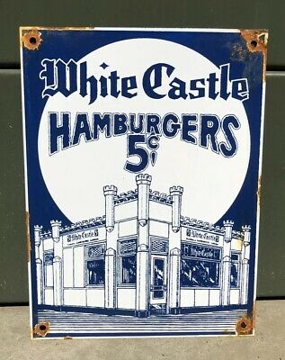 Vintage White Castle 5 Cent Hamburgers Porcelain Enamel Sign 12 X 9 Fast Food Nr