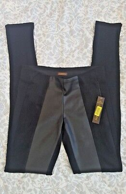 Copper Key Womens Faux Leather and Faux Suede Spandex Leggings Size S Black
