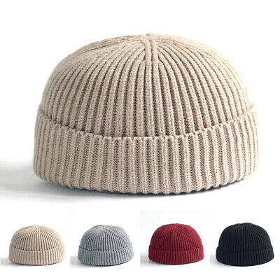 97811f323a5 Men Womens Cable Knitted Brimless Hat Plain Beanie Warm Winter Skullcap  Cuff Cap