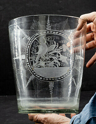 LARGE 1700's Hand Blown and Etched Flip Glass With Bird and Tulip Motifs