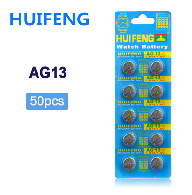 50Pcs AG13 Coin Batteries LR44 SR44 LR1154 S1154 357A A76 SR44SW 1128MP 1166A