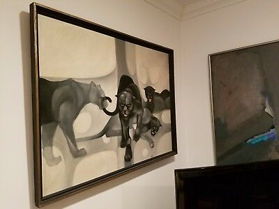 Mid Century Modern Abstract Painting of BLACK PANTHERS, Signed Wiley-FANTASTIQUE
