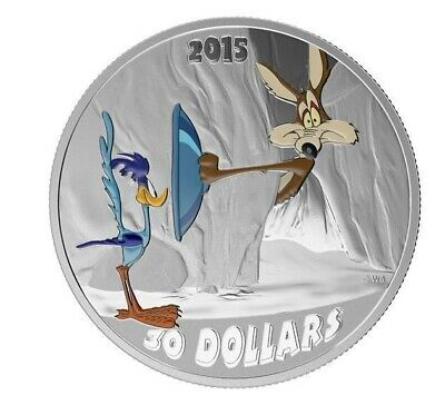 2015 $10 Looney Tunes -The Road Runner vs Coyote - 99.99% 2oz Silver Coin - RCM