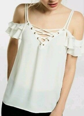 990fea25eeaf74 NWOT Express Womens White Ivory Cold Shoulder Lace Up Ruffles Sheer Top  Small