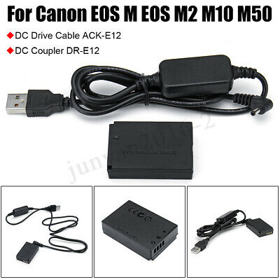 Power Charger Cable LP-E12 ACK-E12+DR-E12 Dummy Battery for Canon EOS M M50 M10