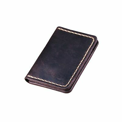Handmade Bifold Leather Wallet - Minimalist Leather Credit Card Wallet Coffee