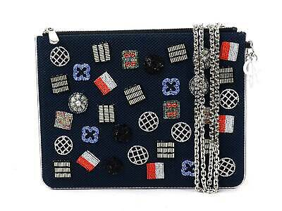 b0202b1b8a Auth Christian Dior Clutch Bag Chain Shoulder Bag Navy/Multicolor Beads -  95944