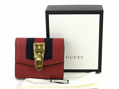 74919464a344 Auth GUCCI Sylvie Trifold Short Wallet Red/Navy/Gold Leather/Canvas - 96003