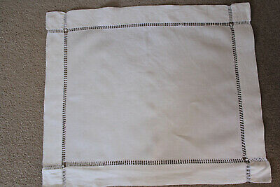 Vintage plain white linen cloth with drawn thread ladder work on edges.