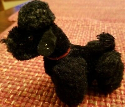 "Steiff Snobby Poodle Dog Black Mohair Plush 4"" ID Button 1960s Vtg"