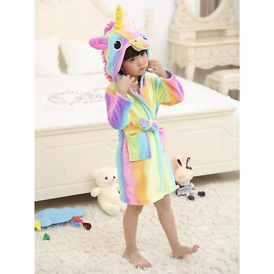 Kids Bathrobe 3D Animal Unicorn Dressing Gown Fleece Night Loungewear Girls Boys
