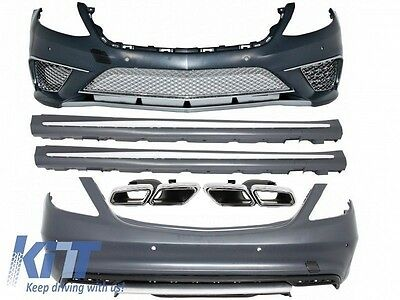 For Mercedes W222 S-Class 2013+ S63 S65 AMG Body Kit Bumper + Exhaust Tips Quad
