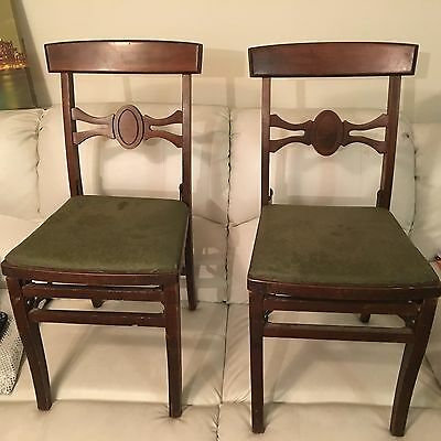 Vtg. folding chairs (2) Louis Rastetter antique mid century wooden heavy rare
