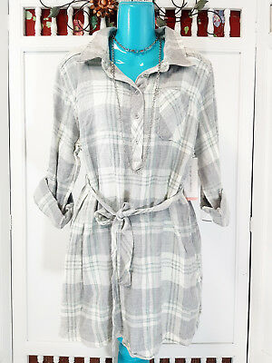 1f801acb490b6 Liz Lange Maternity Flannel Tunic Size L Plaid Button Down Roll Tab Sleeves