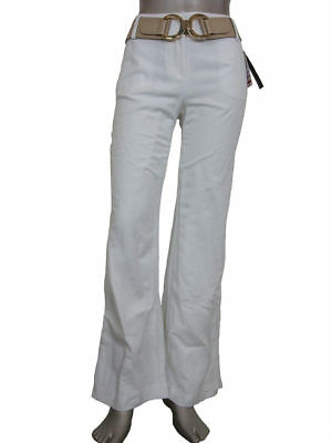 Alfani Women's Fully Lined Wide Leg Linen Pants w/ Belt Bright White 6