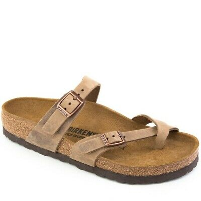 9a72df682a9 Birkenstock Mayari Women s Crossed Flip Flops Oiled Leather Tobacco Brown