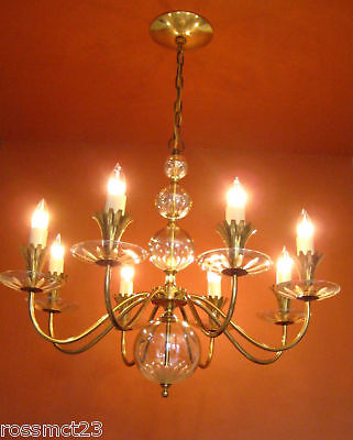 Vintage Lighting Mid Century Hollywood Regency Lightolier Chandelier 28 wide