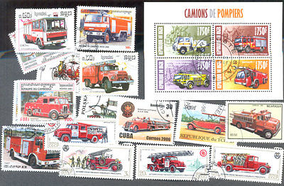 Fire Engines  & Firemen collection 100 all different stamps