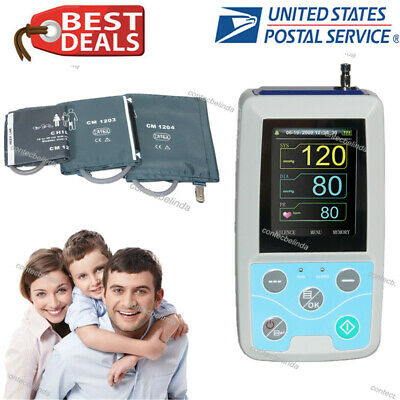 ABPM50 24hours NIBP BP Holter CONTEC Monitor Adult,Child,Large Adult,3 Cuffs USA