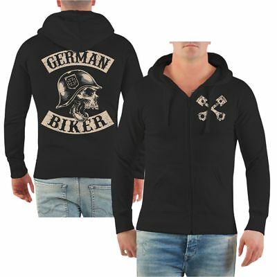 Männer Kapuzen Sweatjacke Patch German Biker Deutsche Deutscher Custom Chopper