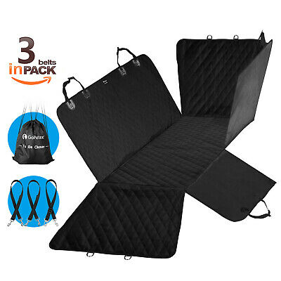 Car Rear Back Seat Cover Pet Protector Waterproof Hammock Mat with 3X Seatbelts