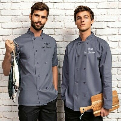 Unisex Personalised Chef Short Sleeve Printed Catering Apron Jacket Uniform