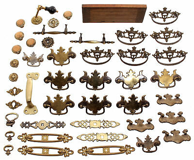 Group of Antique Brass Drawer Pulls, Handle and Key Plates