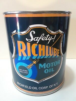 Vintage Richlube Motor Oil Can 1 qt. - (Reproduction Tin Collectible) Richfield