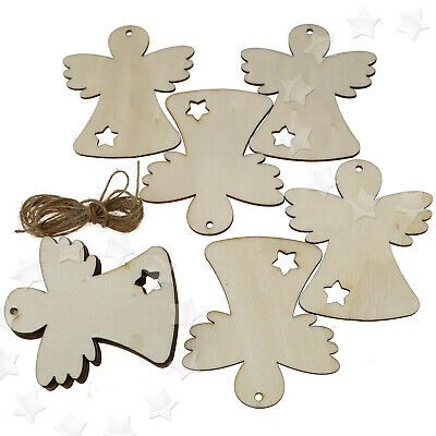 10 pcs Wooden Christmas Xmas Tree Hanging Accessories Gift Deer Wings Doll