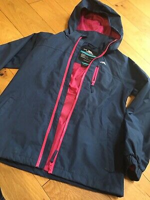 Kids Girls. Trespass Waterproof Windproof Pink Blue Mac Coat Age 11-12 Yrs Vgc.
