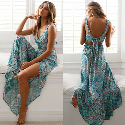 Beautiful Long  Boho Maxi Dress Summer Strappy V Neck Bandage Sleeveless Skirt