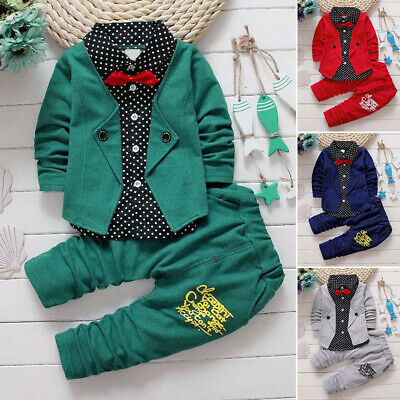 2PCS Toddler Boys Kids Gentleman Long Sleeve Shirt+ Pants Wedding Party Outfits