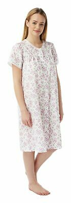 Ladies Floral Short Sleeve Full Button Nightdress By Marlon Sizes 10-30 MN16