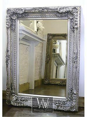 """Chelsea Silver Carved Ornate Rectangle Antique Wall Mirror 48"""" x 36"""" X Large"""