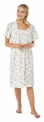 Ladies Short Sleeve Floral Nightdress With Lace Trim by Marlon Sizes 10-26