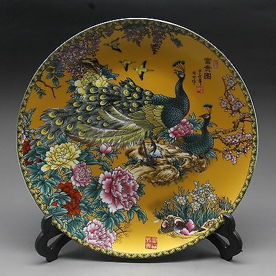 Chinese Rose Porcelain painted Yellow Peacock Plate w Qianlong Mark
