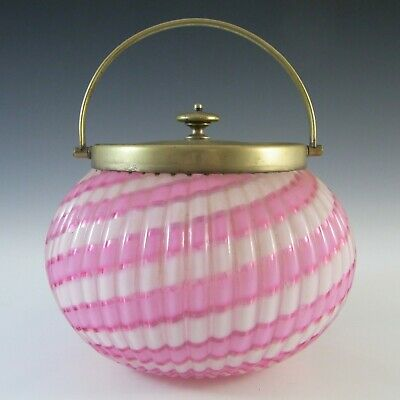 Vintage Victorian Pink and White Glass & Silver Plated Biscuit Barrel