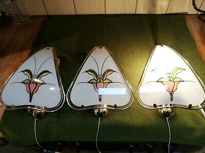 Vintage 1970s Brass Wall Lights X 3 Art Deco Style Glass ,