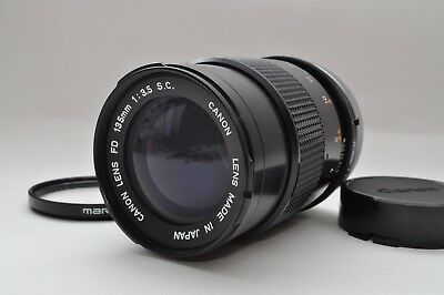 Exc++++  Canon FD 135mm f/3.5 S.C. MF Lens with Filter Rear Cap from JAPAN # 133