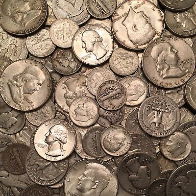 $1 Face Value - 90% Silver U.S. Coins - Dimes/Quarters/Halves