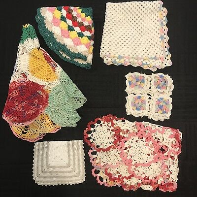Lot of 6 Antique VTG Handmade Crocheted Doilies Multicolored Cotton Doily Asst.