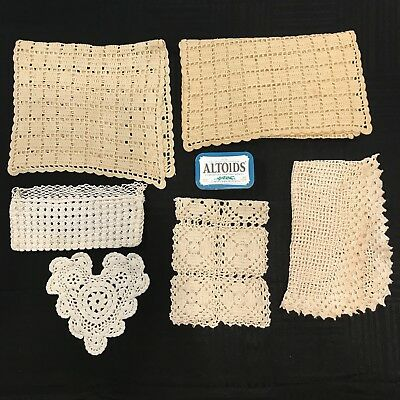 Lot of 6 Antique VTG Handmade Crocheted Doilies Various Heart Purse Cotton Doily