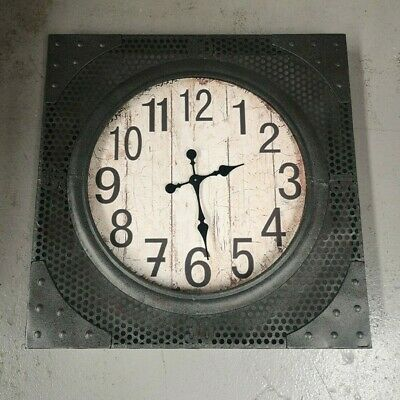CLEARANCE Industrial Square Clock Distressed Finish Metal Frame Timer Mesh Decor