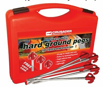 Crusader 20 xHeavy Duty Hard Ground Pro Tent & Awning Peg Rock Pegs Free Case