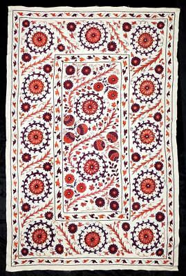 Uzbek Silk Handmade Embroidery Suzani The Great Silk Road From Bukhara A12211 Antiques Linens & Textiles (pre-1930)