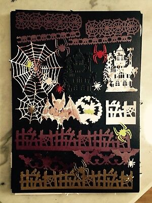Spiders Spooky House Gothic Halloween Card toppers Die Cuts Set Mixed Lot