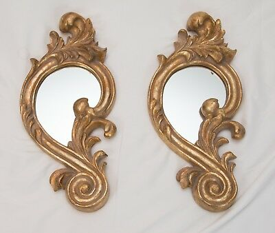 Pair of French Gilt Wood Gold Carved Wall Mirrors